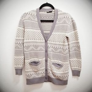 BDG Taupe Nordic Print Sweater with Pockets F29